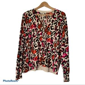 Sejour XL 1X light knit cardigan animal print